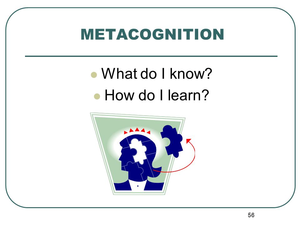 56 METACOGNITION What do I know? How do I learn?