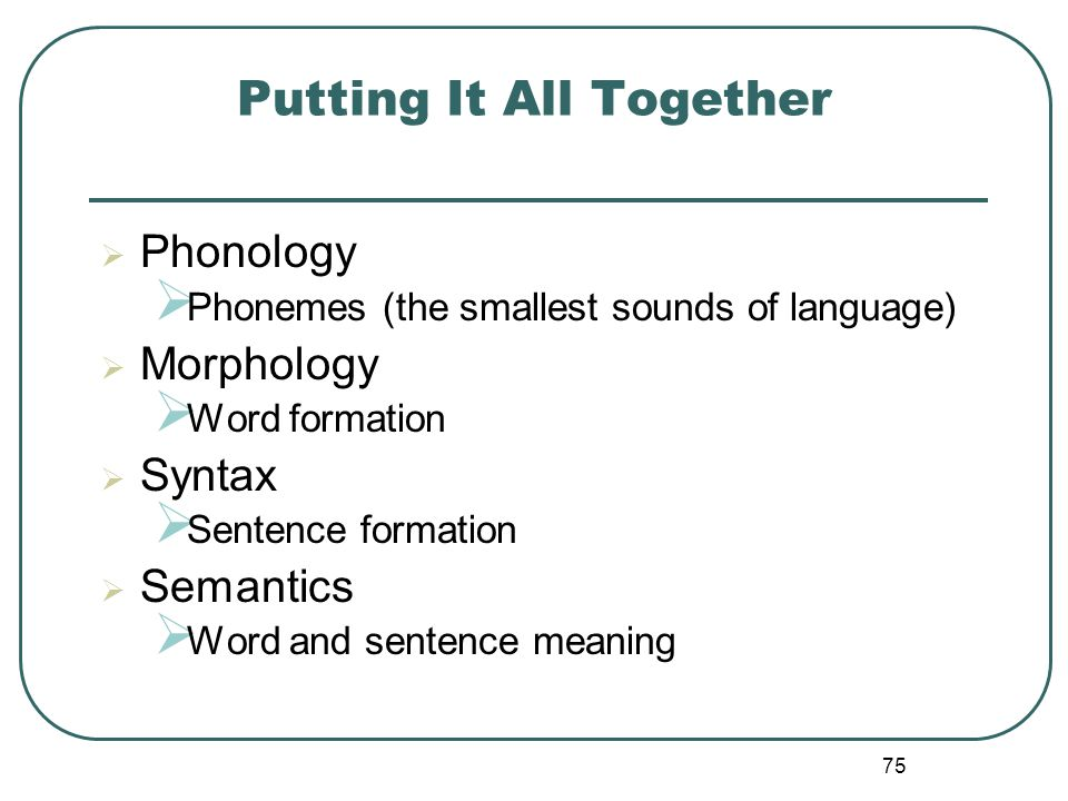 75 Putting It All Together Phonology Phonemes (the smallest sounds of language) Morphology Word formation Syntax Sentence formation Semantics Word and