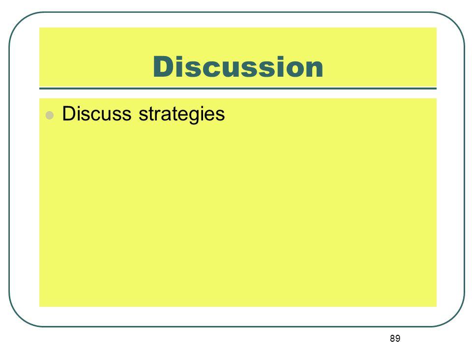 89 Discussion Discuss strategies