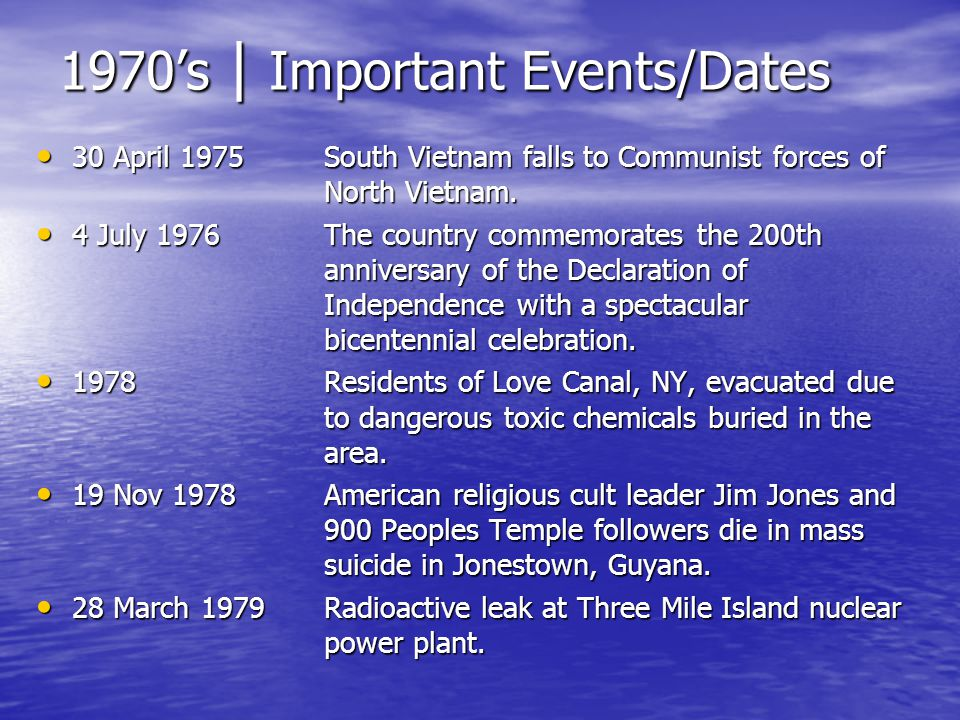 1970s | Important Events/Dates 30 April 1975South Vietnam falls to Communist forces of North Vietnam. 30 April 1975South Vietnam falls to Communist fo