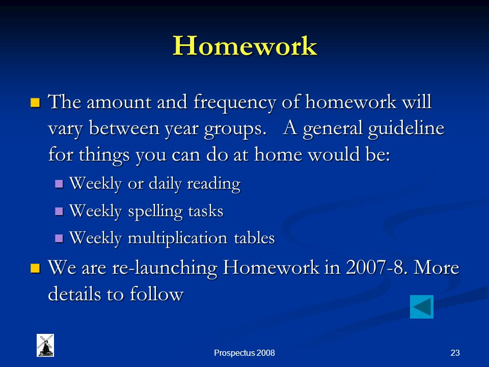 23Prospectus 2008 Homework The amount and frequency of homework will vary between year groups. A general guideline for things you can do at home would