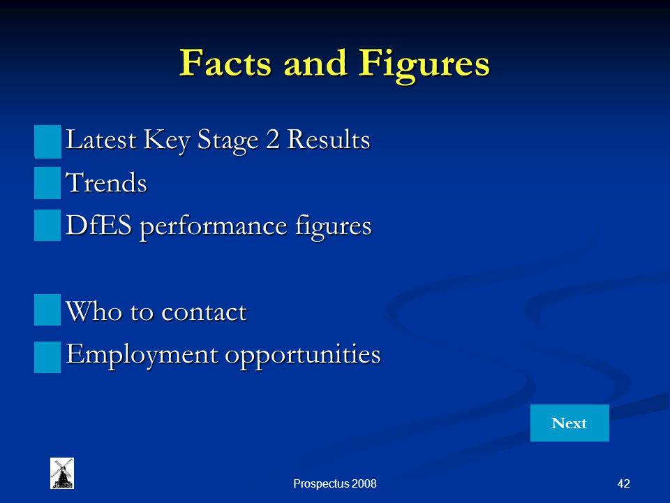 42Prospectus 2008 Facts and Figures Latest Key Stage 2 Results Latest Key Stage 2 Results Trends Trends DfES performance figures DfES performance figures Who to contact Who to contact Employment opportunities Employment opportunities Next
