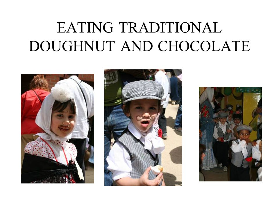 EATING TRADITIONAL DOUGHNUT AND CHOCOLATE