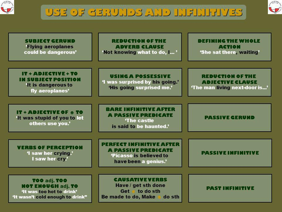 Return to the home page to link to another use of Gerunds and Infinitives. HOME PAGE SUBJECT GERUND