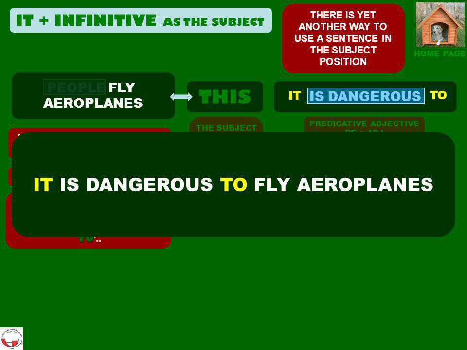 THIS PEOPLE FLY AEROPLANES HOME PAGE IS DANGEROUS If the subject in the first clause denotes a general group,… …OMIT the subject,...