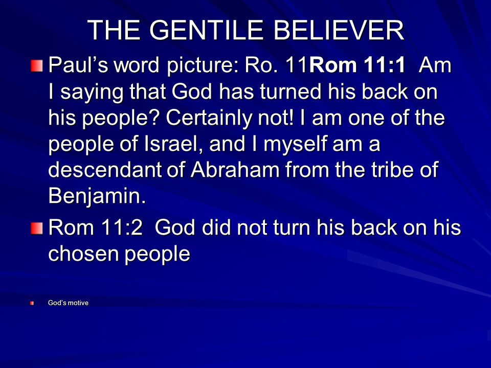 THE GENTILE BELIEVER Pauls word picture: Ro.