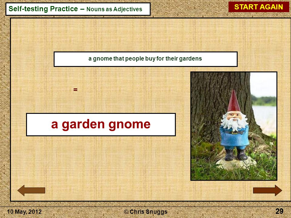 a lightning-conductor 29 a gnome that people buy for their gardens = a garden gnome 10 May, 2012© Chris Snuggs 29 START AGAIN Self-testing Practice – Nouns as Adjectives