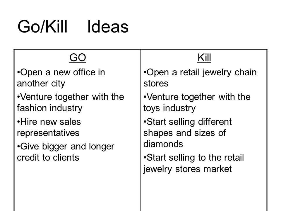 Go/Kill Ideas Kill Open a retail jewelry chain stores Venture together with the toys industry Start selling different shapes and sizes of diamonds Start selling to the retail jewelry stores market GO Open a new office in another city Venture together with the fashion industry Hire new sales representatives Give bigger and longer credit to clients