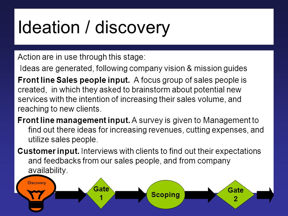 Ideation / discovery Action are in use through this stage: Ideas are generated, following company vision & mission guides Front line Sales people input.