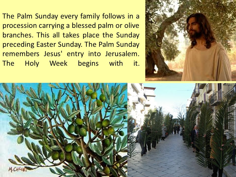 The Palm Sunday every family follows in a procession carrying a blessed palm or olive branches.