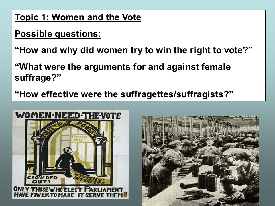 Paper 2 – British Society 1906-1918 Each paper will focus on only one topic. 2003 – Why were women given the vote in 1918? 2004 – How were people in B