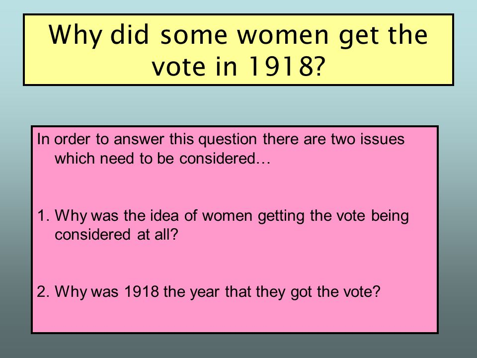 Women over the age of 30 were given the vote Women over the age of 30 were allowed to become MPs All men over the age of 21 were given the vote This m