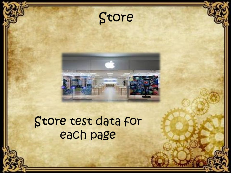 Store Store test data for each page