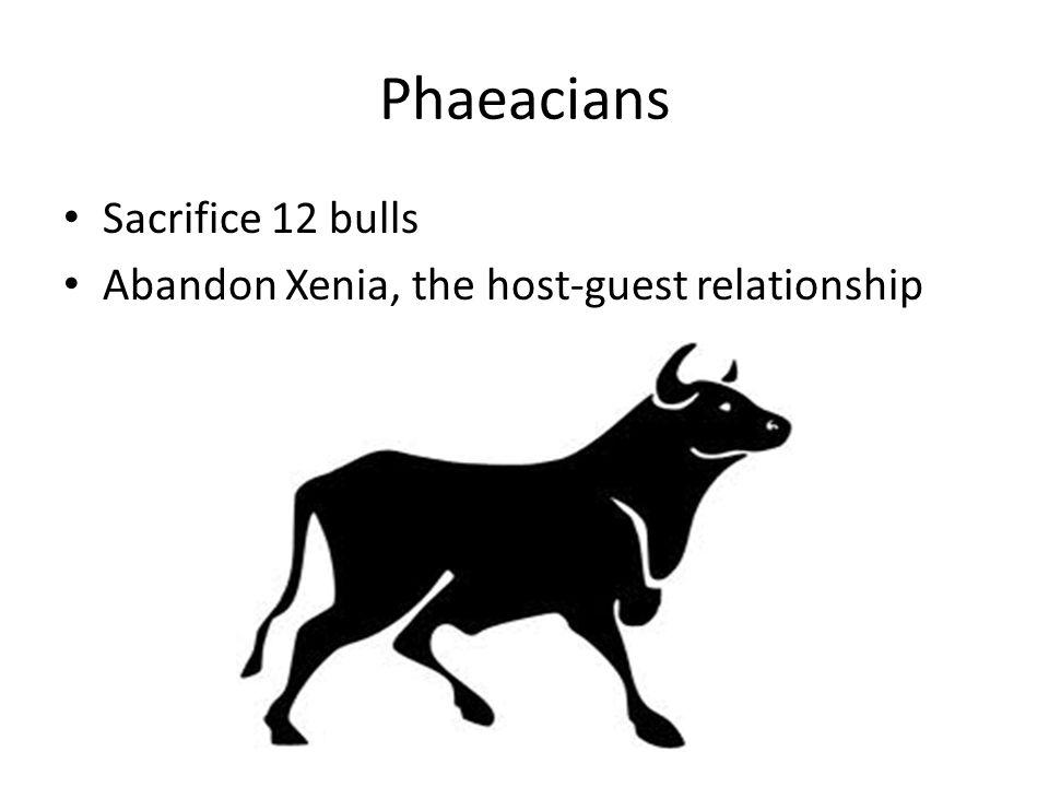 Phaeacians Sacrifice 12 bulls Abandon Xenia, the host-guest relationship