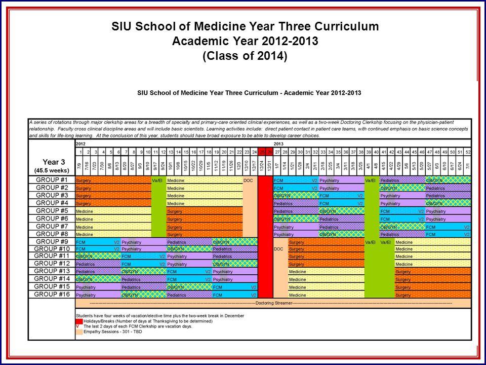 SIU School of Medicine Year Three Curriculum Academic Year 2012-2013 (Class of 2014)