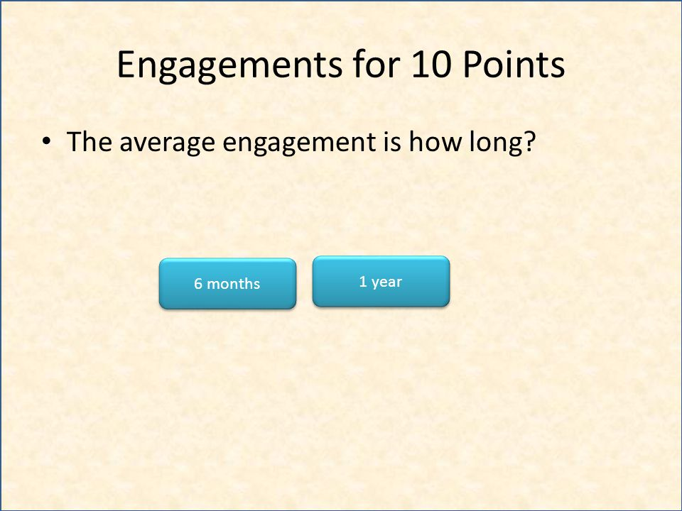 Engagements for 10 Points The average engagement is how long? 1 year 6 months