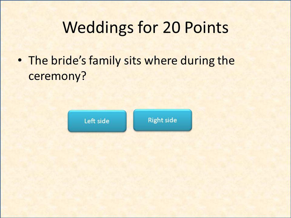 Weddings for 30 Points Flower girls represent what? Innocence Fertility