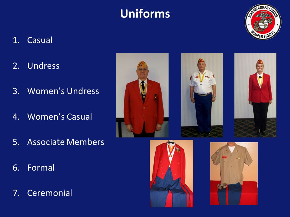 Dress blue trousers with red NCO stripe may be worn, with Marine Corps web belt and brass buckle, when in Color Guard.