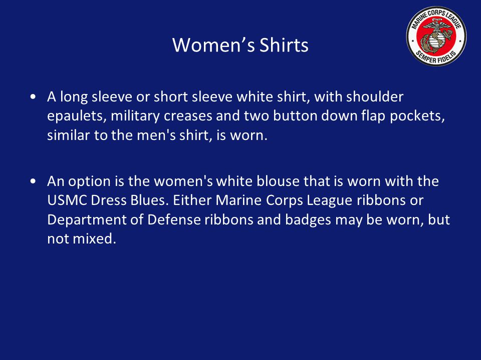 Womens Cover The Standard Cover is to be worn with the Marine Corps Emblem worn on the left side. Officer strips, LIFE and LIFE MEMBER strips and the