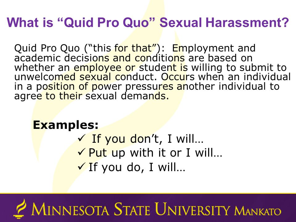 What is Quid Pro Quo Sexual Harassment.