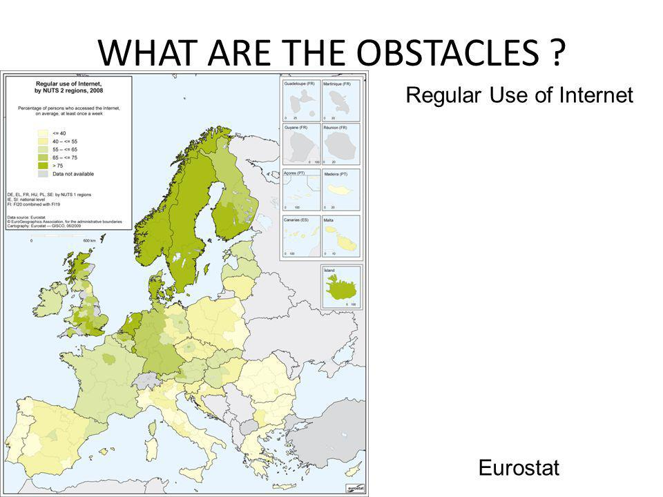 WHAT ARE THE OBSTACLES ? Eurostat Regular Use of Internet