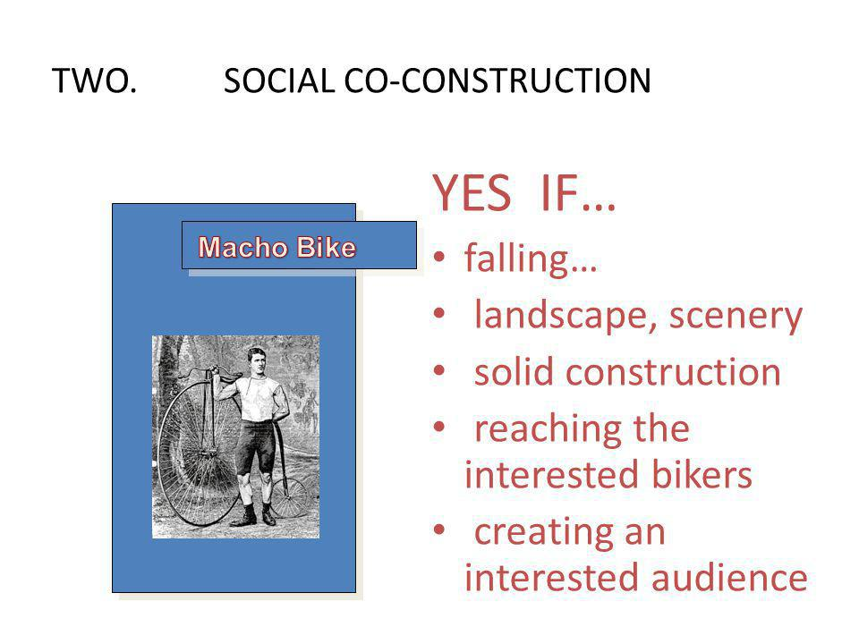 YES IF… falling… landscape, scenery solid construction reaching the interested bikers creating an interested audience TWO.SOCIAL CO-CONSTRUCTION