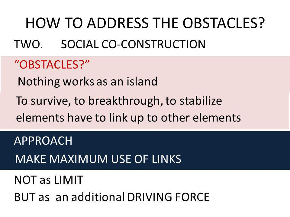 NOT as LIMIT BUT as an additional DRIVING FORCE HOW TO ADDRESS THE OBSTACLES? OBSTACLES? Nothing works as an island To survive, to breakthrough, to st