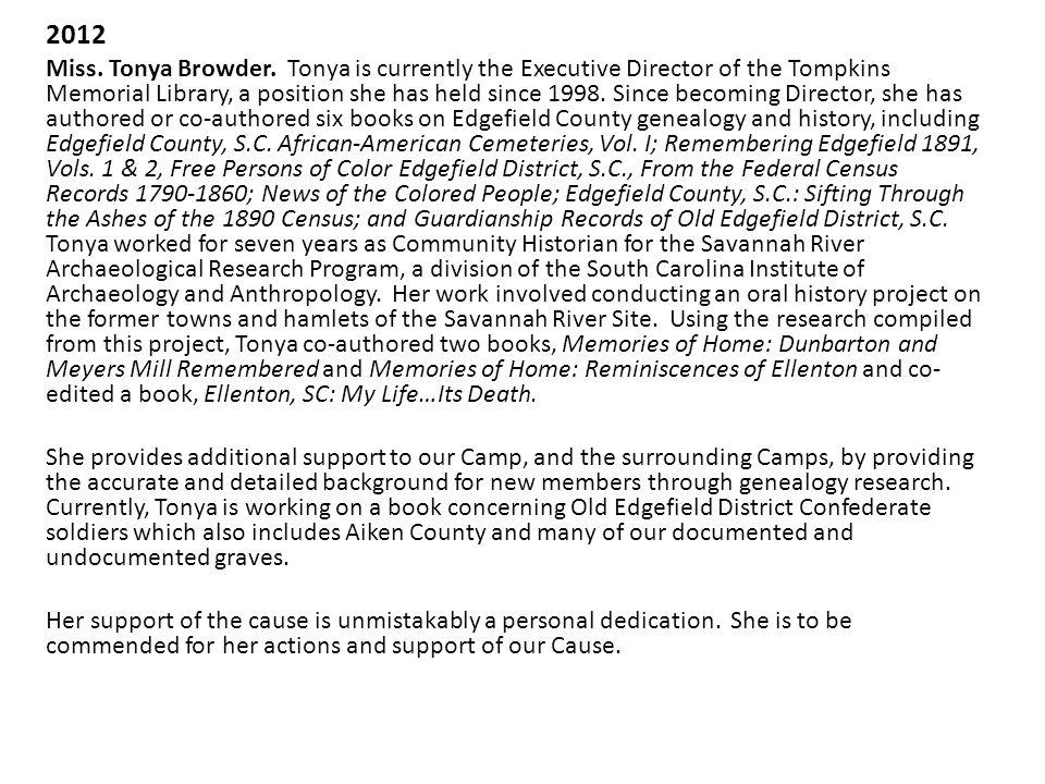 2012 Miss. Tonya Browder.