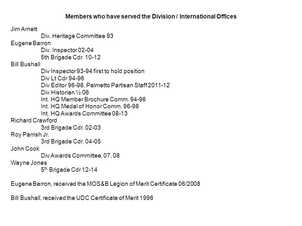 Members who have served the Division / International Offices Jim Arnett Div.