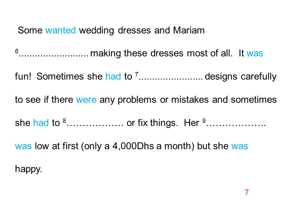 Some wanted wedding dresses and Mariam 6..........................