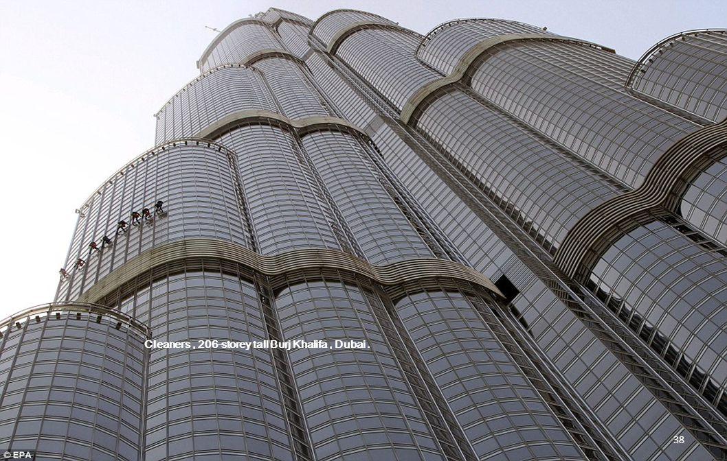 Cleaners, 206-storey tall Burj Khalifa, Dubai. 37