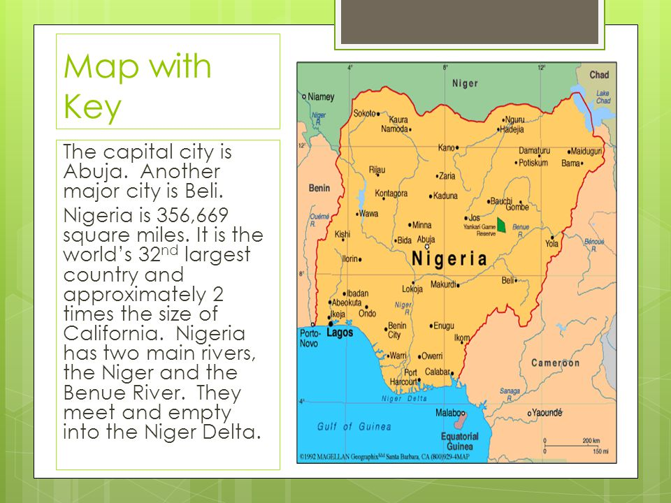 Map with Key The capital city is Abuja. Another major city is Beli.