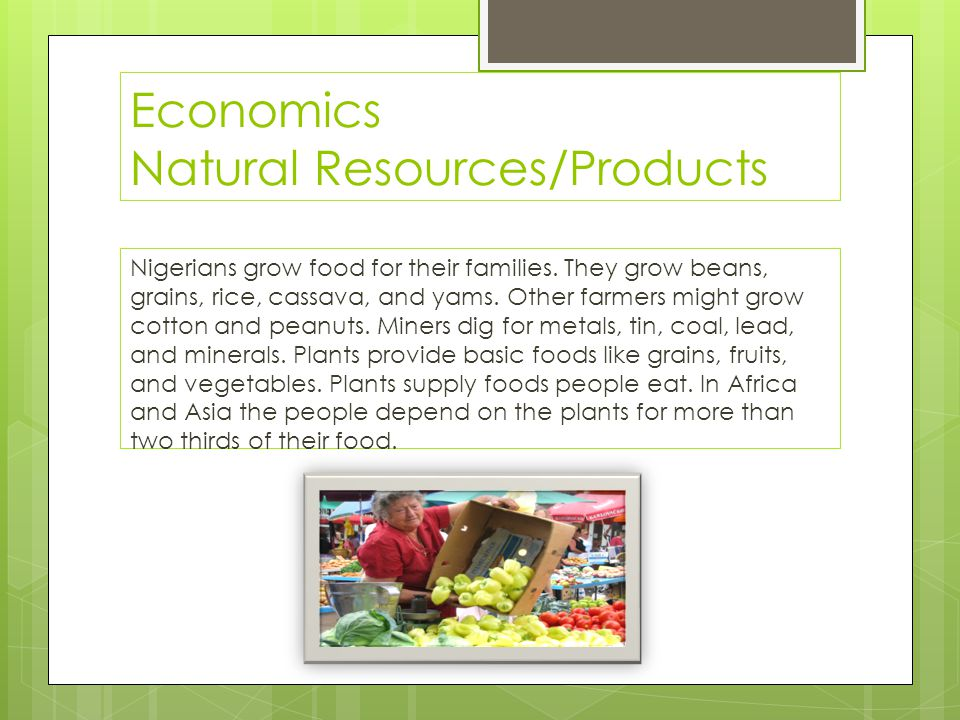 Economics Natural Resources/Products Nigerians grow food for their families. They grow beans, grains, rice, cassava, and yams. Other farmers might gro