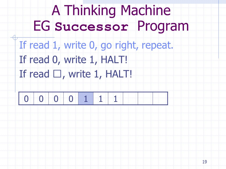 19 A Thinking Machine EG Successor Program If read 1, write 0, go right, repeat. If read 0, write 1, HALT! If read , write 1, HALT! 0000111
