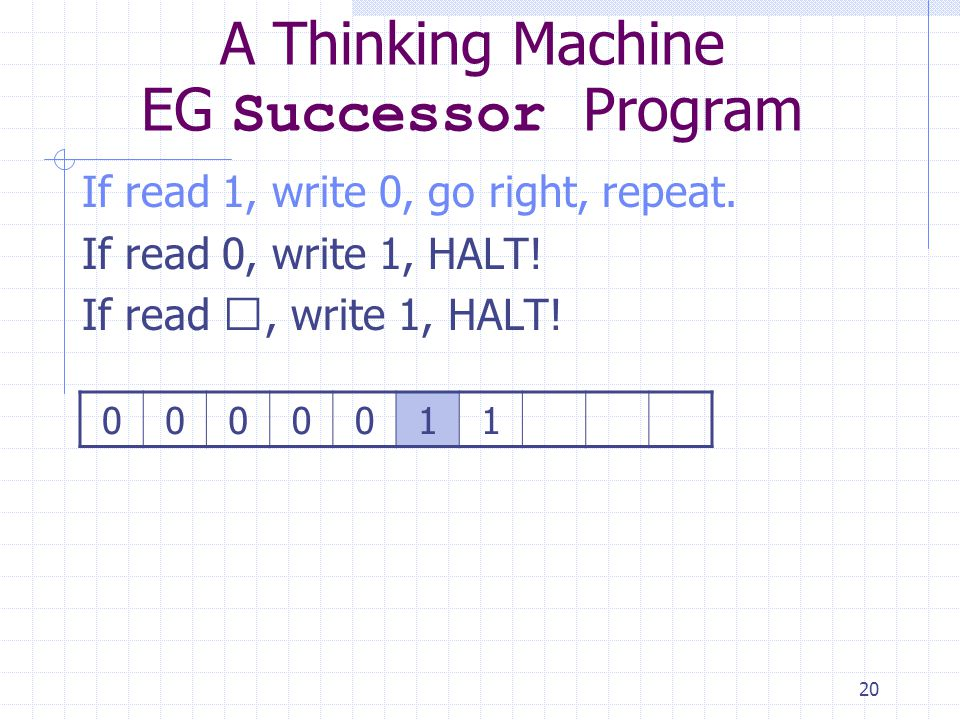 20 A Thinking Machine EG Successor Program If read 1, write 0, go right, repeat. If read 0, write 1, HALT! If read , write 1, HALT! 0000011