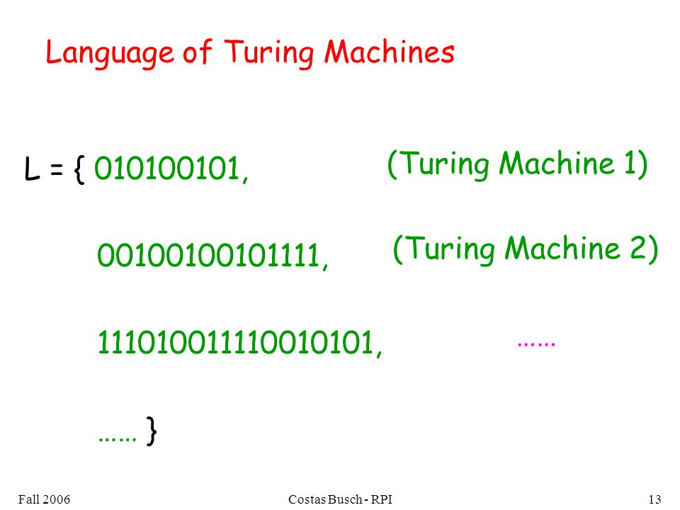 Fall 2006Costas Busch - RPI13 Language of Turing Machines L = { 010100101, 00100100101111, 111010011110010101, …… } (Turing Machine 1) (Turing Machine 2) ……