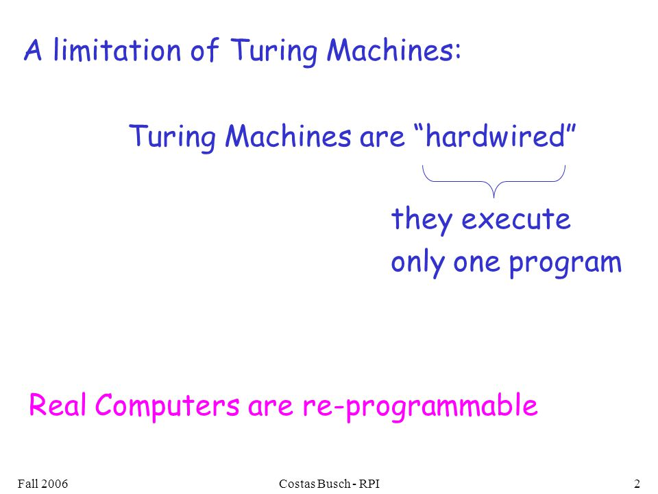 Fall 2006Costas Busch - RPI3 Solution: Universal Turing Machine Reprogrammable machine Simulates any other Turing Machine Attributes: