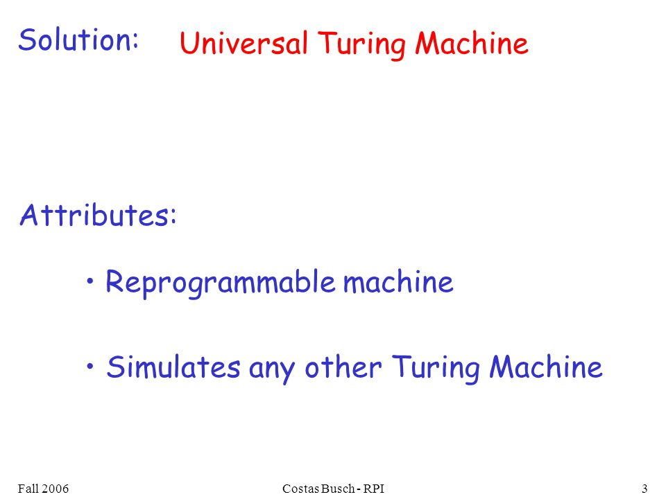 Fall 2006Costas Busch - RPI4 Universal Turing Machine simulates any Turing Machine Input of Universal Turing Machine: Description of transitions of Input string of