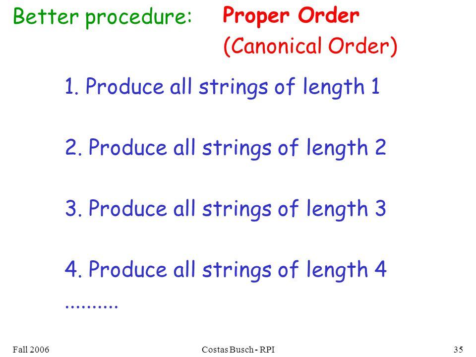 Fall 2006Costas Busch - RPI35 Better procedure: 1. Produce all strings of length 1 2. Produce all strings of length 2 3. Produce all strings of length