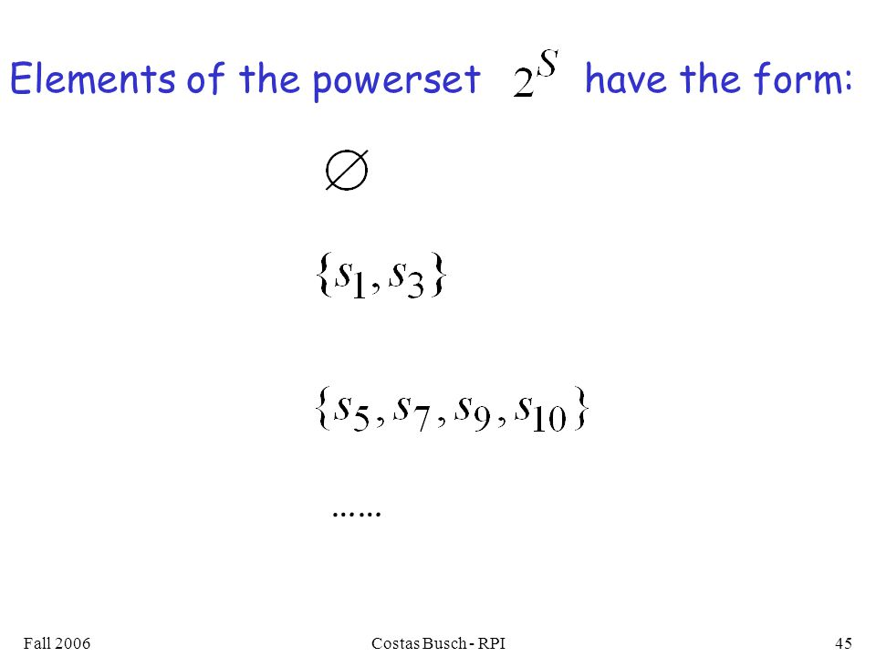 Fall 2006Costas Busch - RPI45 Elements of the powerset have the form: ……