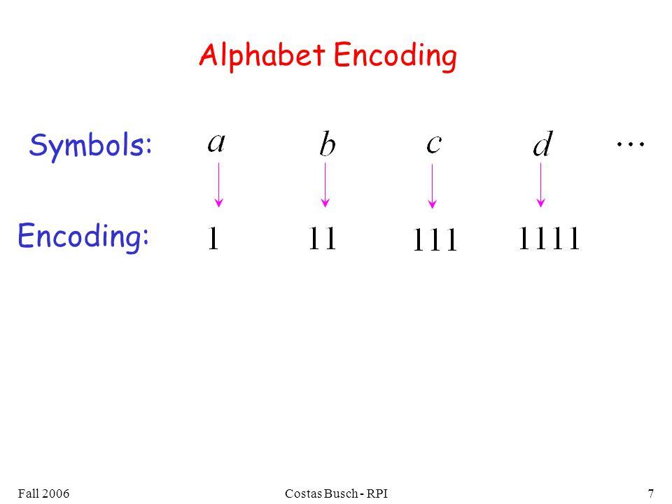 Fall 2006Costas Busch - RPI7 Alphabet Encoding Symbols: Encoding: