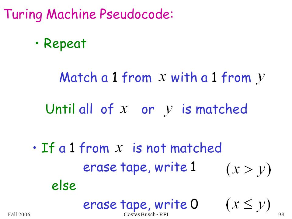Fall 2006Costas Busch - RPI98 Turing Machine Pseudocode: Match a 1 from with a 1 from Repeat Until all of or is matched If a 1 from is not matched erase tape, write 1 else erase tape, write 0