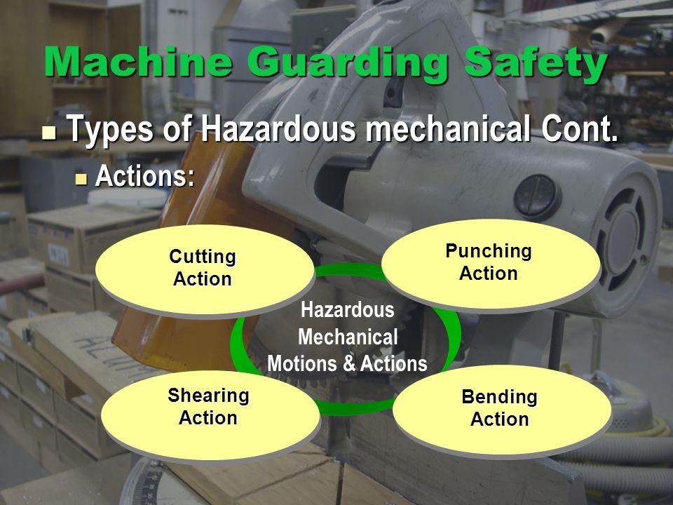 Hazardous Mechanical Motions & Actions Machine Guarding Safety Types of Hazardous mechanical Cont.