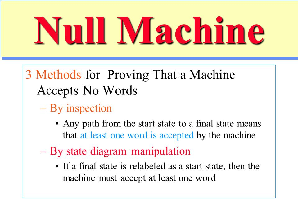 Null Machine 3 Methods for Proving That a Machine Accepts No Words –By inspection Any path from the start state to a final state means that at least o