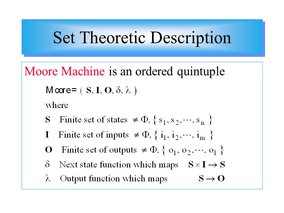 Set Theoretic Description Moore Machine is an ordered quintuple