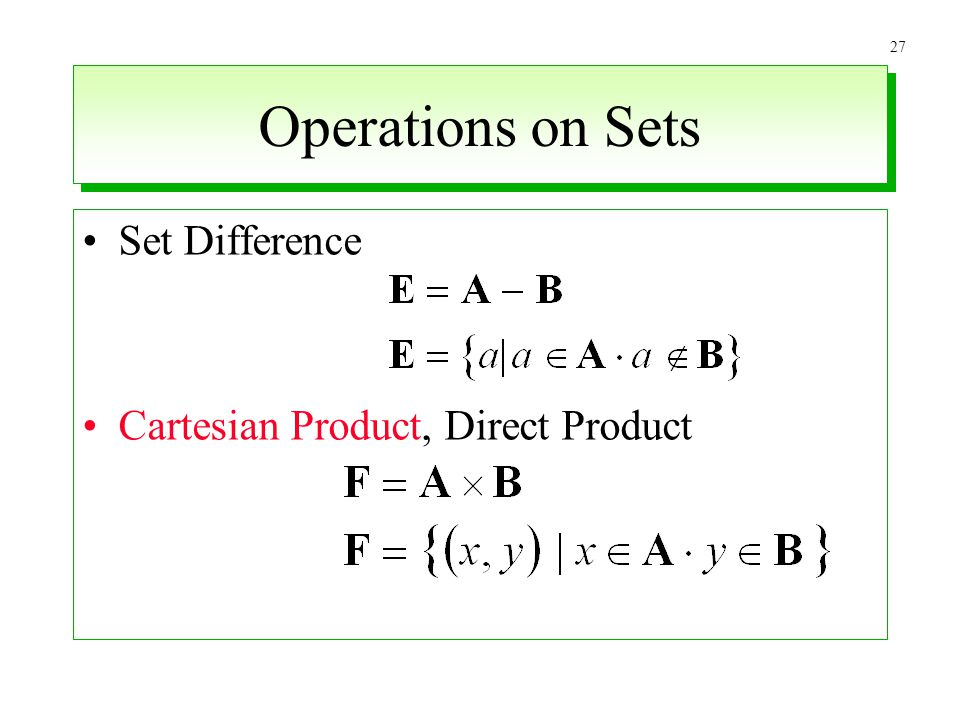 27 Operations on Sets Set Difference Cartesian Product, Direct Product