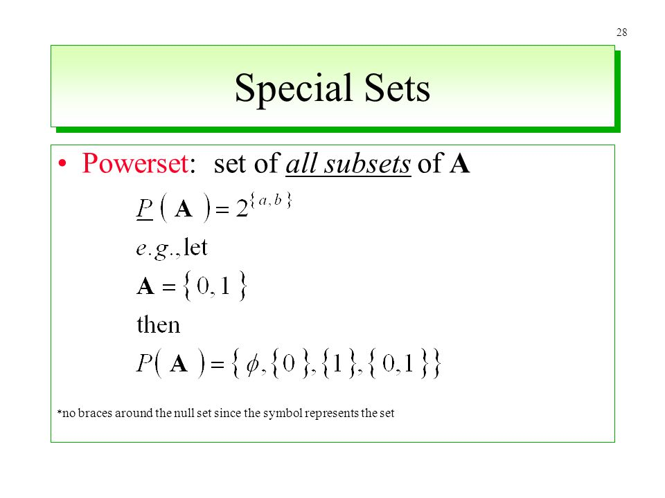 28 Special Sets Powerset: set of all subsets of A * no braces around the null set since the symbol represents the set