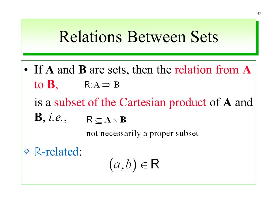 32 Relations Between Sets If A and B are sets, then the relation from A to B, is a subset of the Cartesian product of A and B, i.e., R -related: