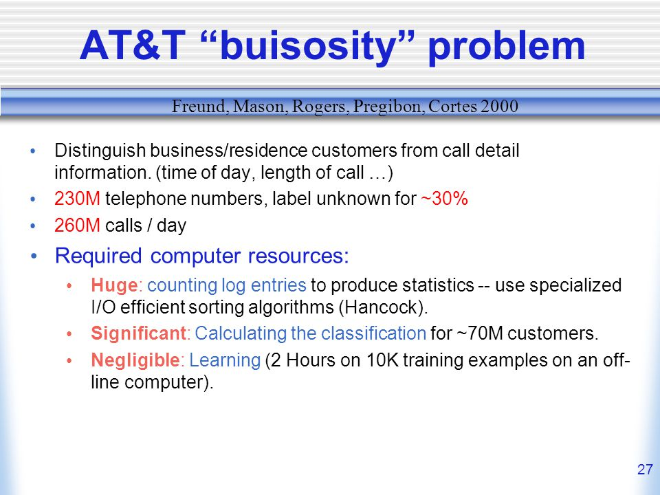 27 AT&T buisosity problem Distinguish business/residence customers from call detail information.