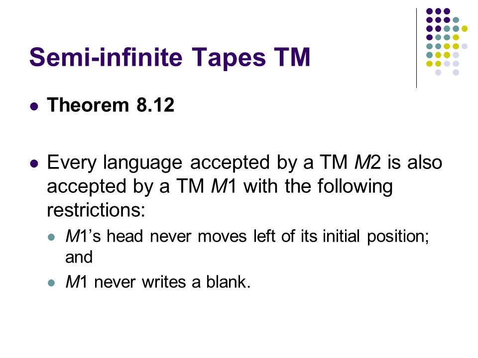 Semi-infinite Tapes TM Theorem 8.12 Every language accepted by a TM M2 is also accepted by a TM M1 with the following restrictions: M1s head never moves left of its initial position; and M1 never writes a blank.